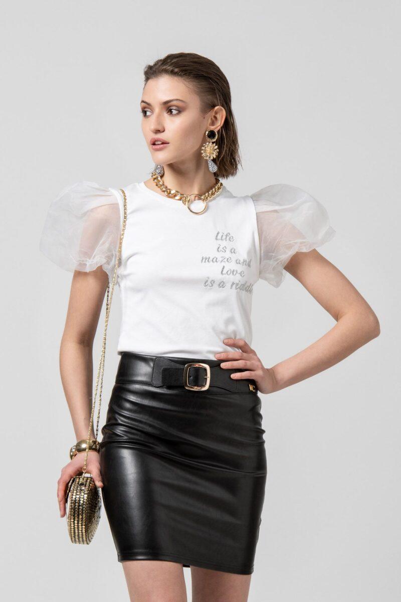 Μπλούζα κοντομάνικη με τούλινο μανίκι άσπρη 1002504-1