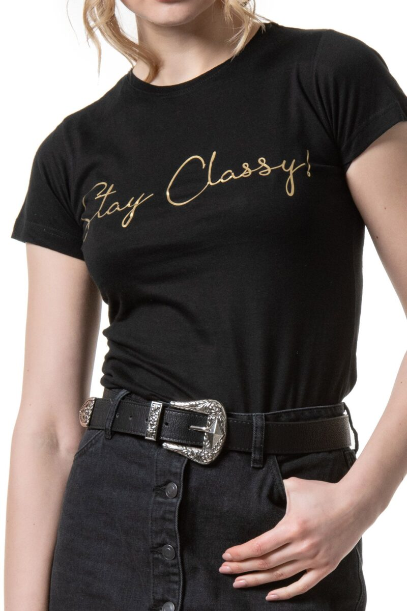 Μπλούζα κοντομάνικη μαύρη ''stay classy'' 1002346-1