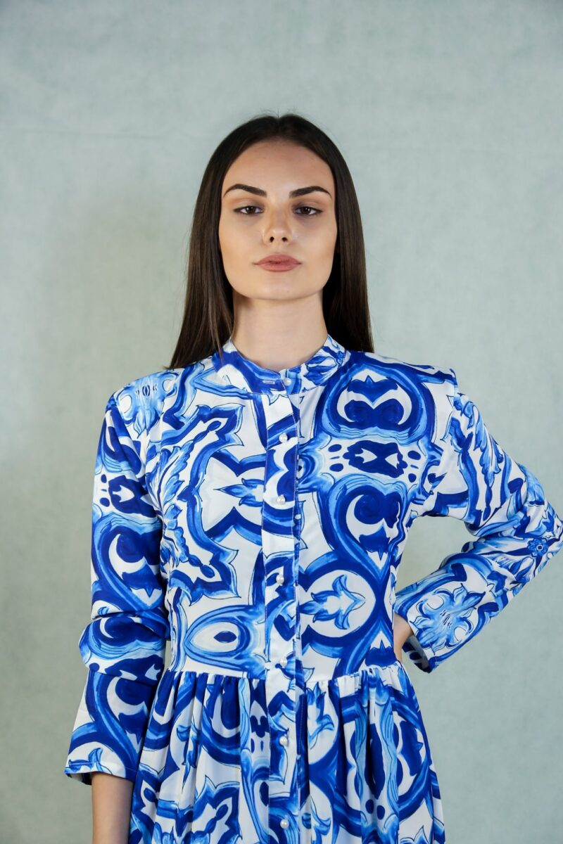 Φόρεμα μπριμέ μπλε με κουμπιά 1506
