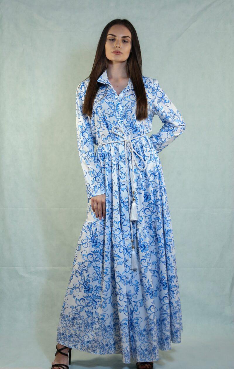 Φόρεμα μάξι εμπριμέ μακρομάνικο μπλε 1502