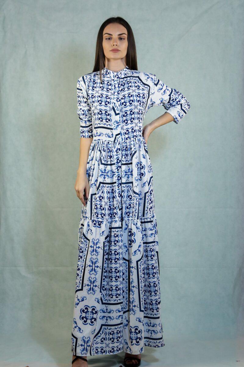 Φόρεμα λευκό με μπλε και κουμπιά 1509