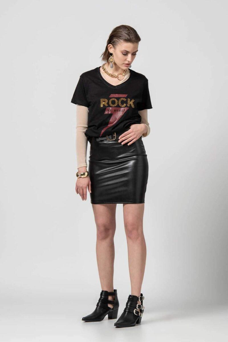 Φούστα δερμάτινη μαύρη 1702500