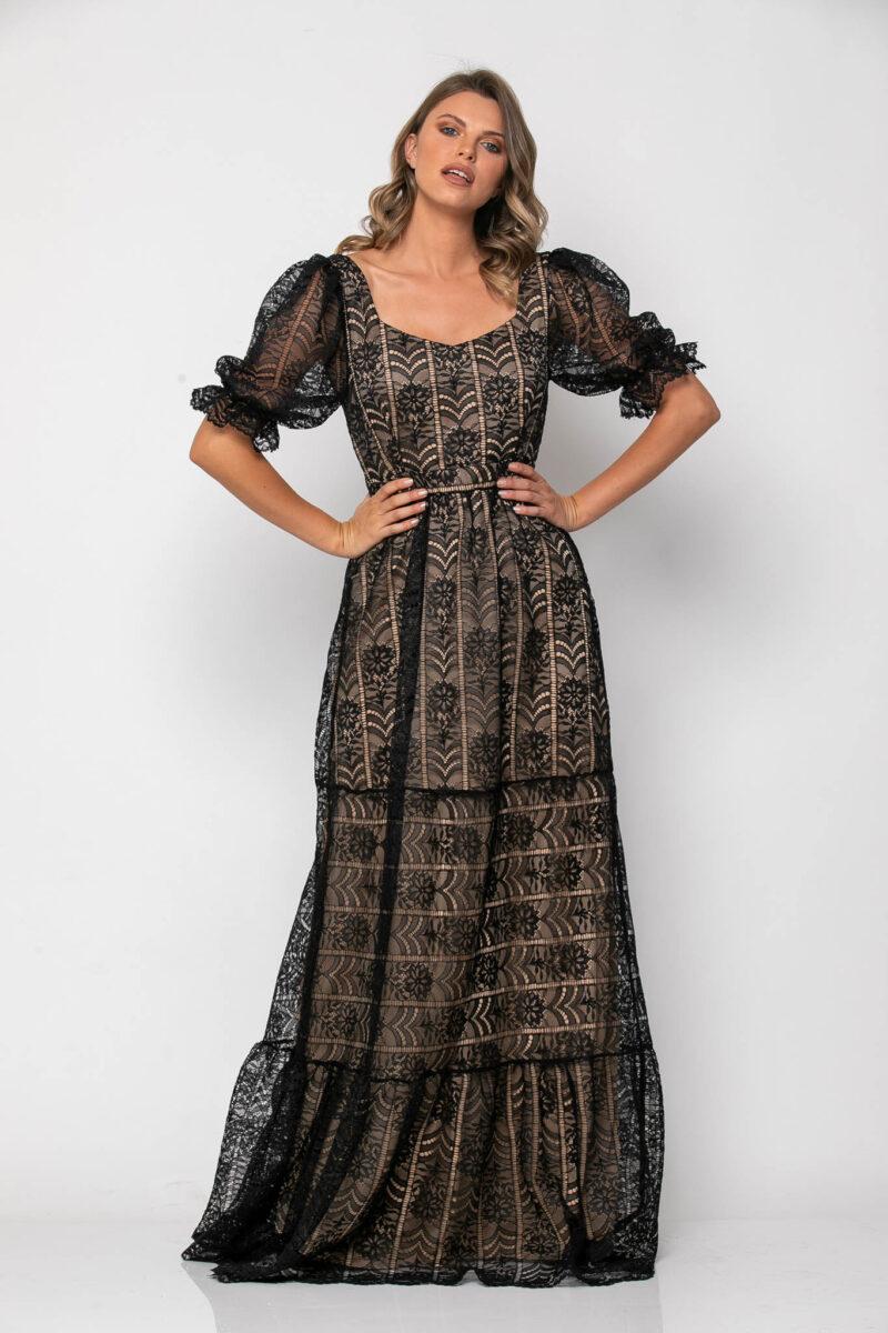 Φόρεμα δαντέλα μάξι με balloon μανίκια 21112316