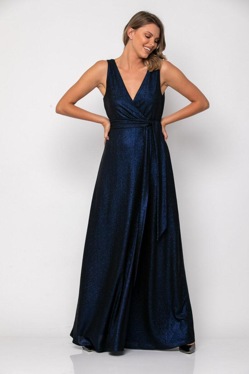 Φόρεμα lurex κρουαζέ με δέσιμο στη μέση μπλέ 21112351