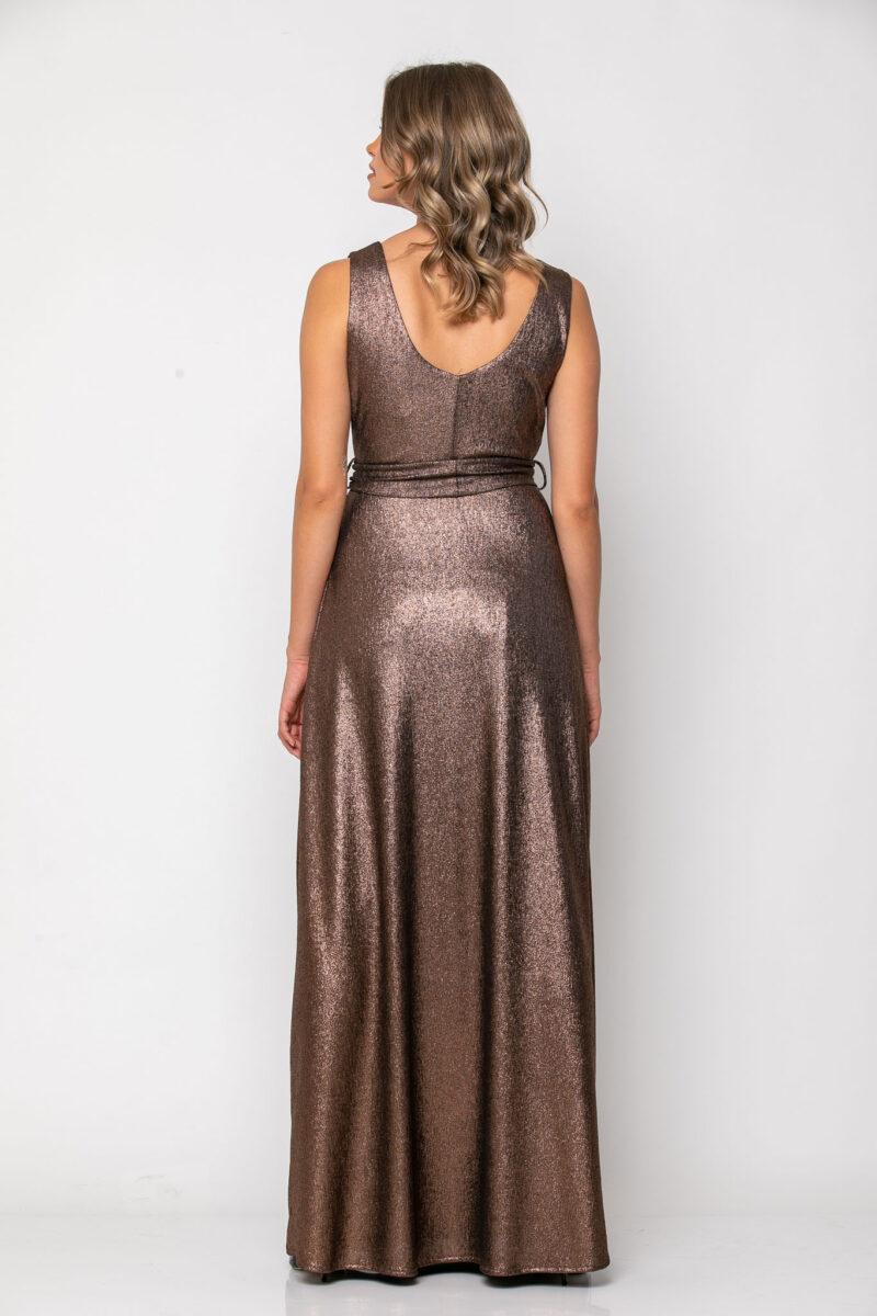 Φόρεμα lurex κρουαζέ με δέσιμο στη μέση μπρονζέ 21112351