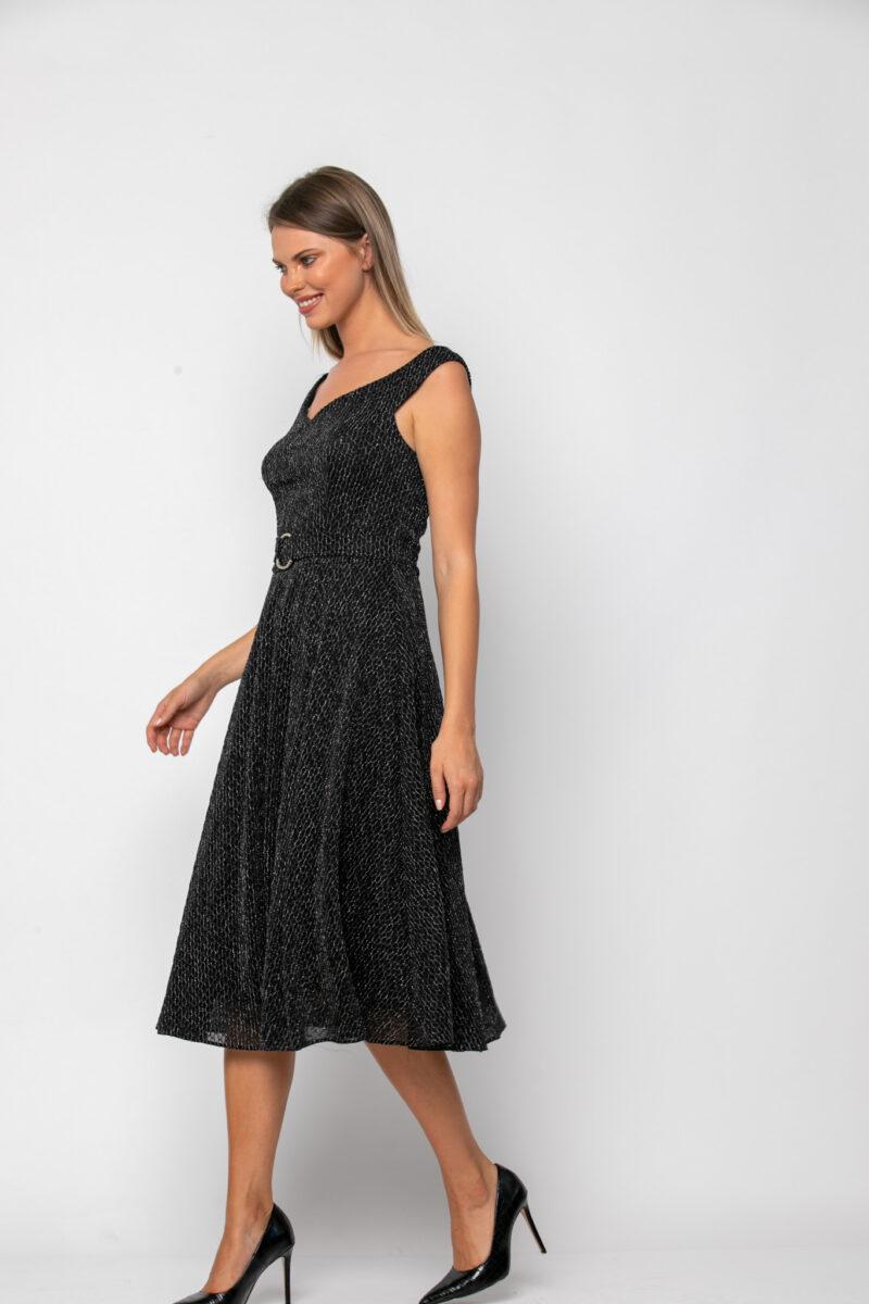 Φόρεμα midi σε jersey lurex με ζώνη στη μέση 21112370