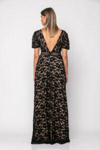 Φόρεμα δαντέλα με τρέσα δερμάτινη εμπρός και στη μέση 21112372