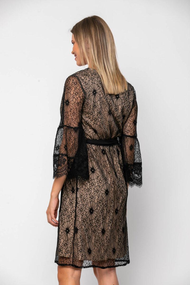Φόρεμα cocktail midi κρουαζέ σε δαντέλα με ζώνη στη μέση 21112375