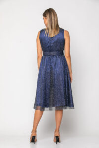 Φόρεμα midi σε τούλι ιριζέ με ζώνη στη μέση 21112379