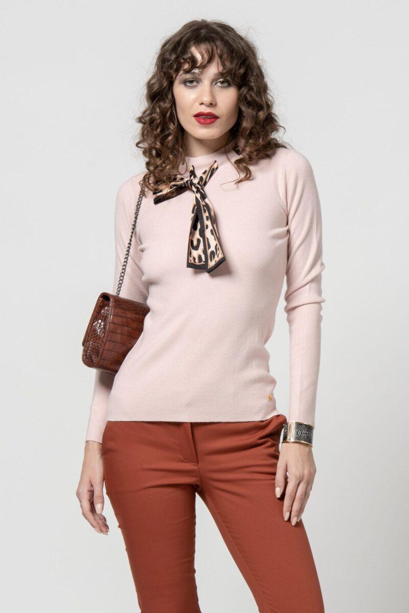 Μπλούζα πλεκτή με φουλάρι 1002416