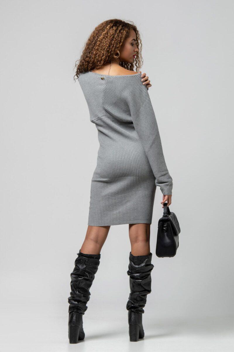 Φόρεμα πλεκτό μίνι γκρί 1102419