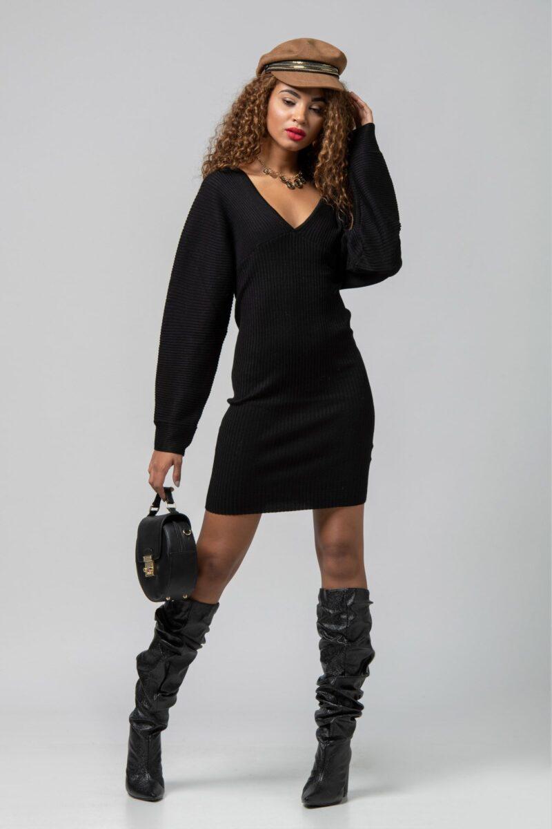 Φόρεμα πλεκτό μίνι μαύρο 1102419-1