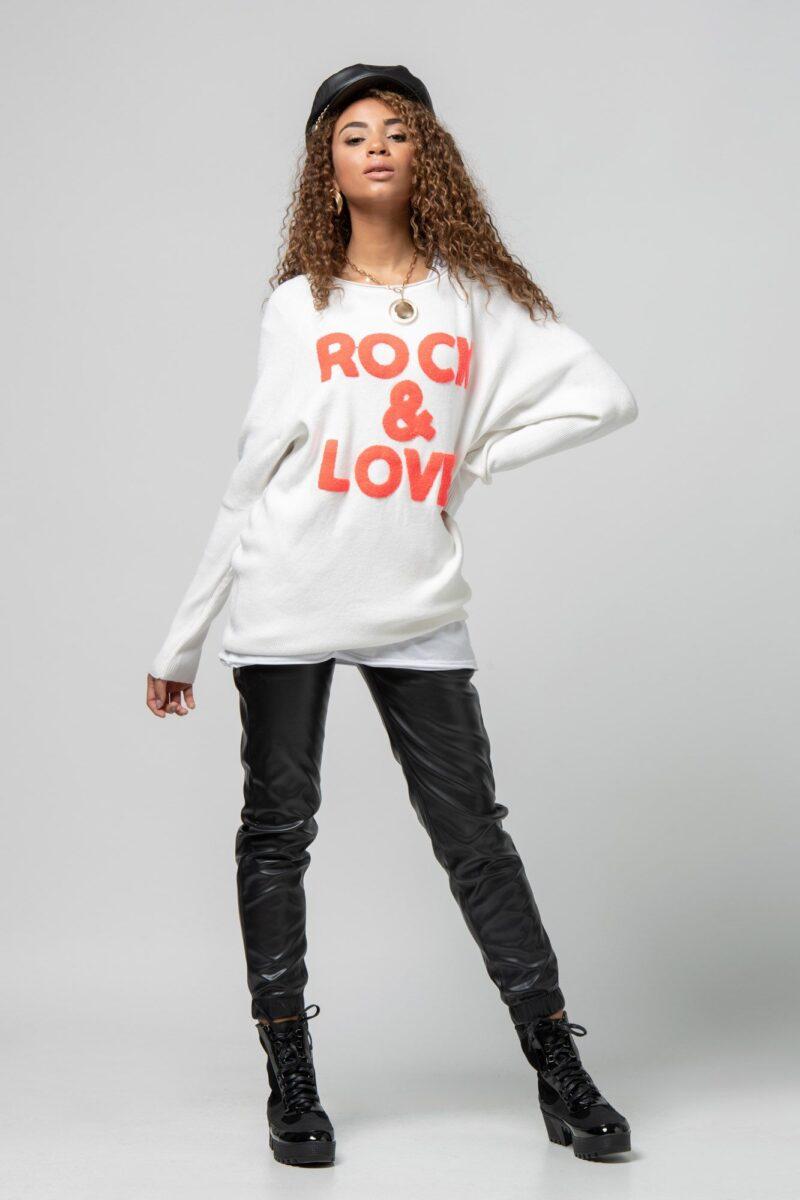 """Μπλούζα πλεκτή """"Rock n Love"""" λευκή 1002441-2"""