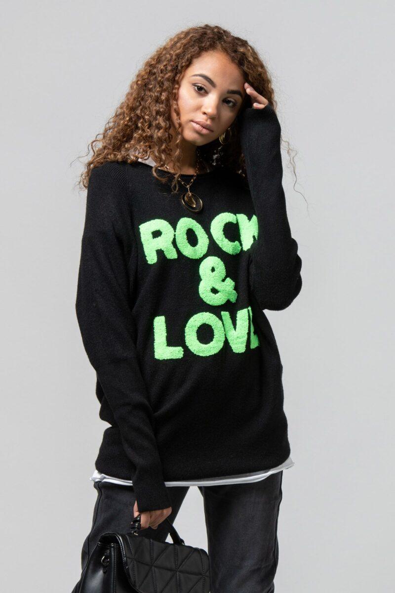 """Μπλούζα πλεκτή """"Rock n love"""" μαύρη 1002441-1"""