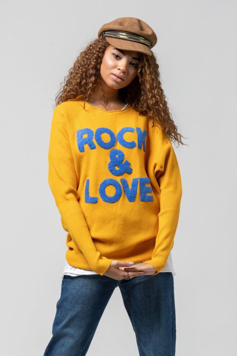 """Μπλούζα πλεκτή """"Rock n Love"""" κίτρινη 1002441-3"""