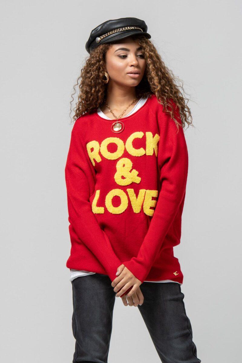 """Μπλούζα πλεκτή """"Rock n Roll"""" κόκκινη 1002441"""