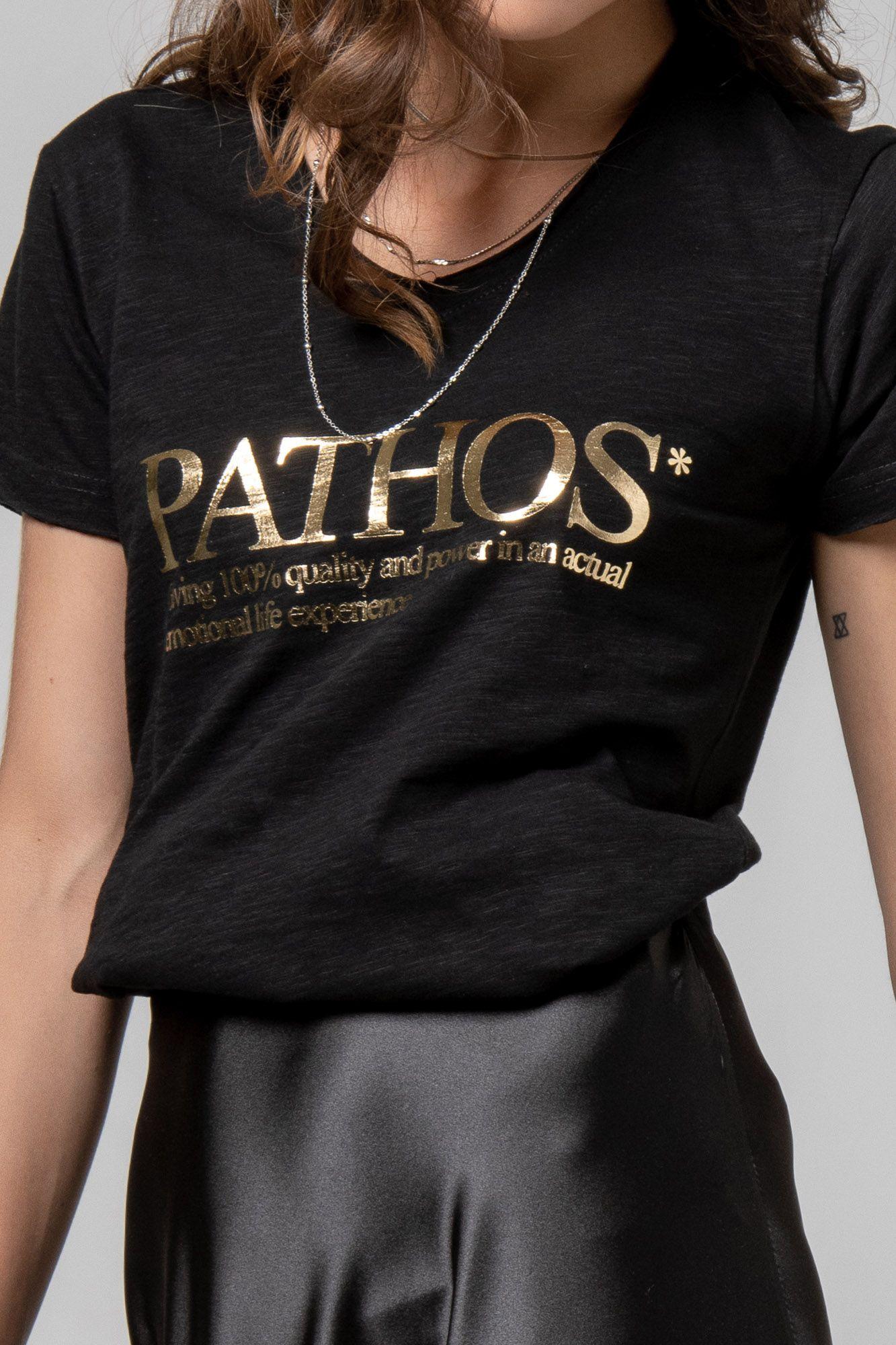 "T-shirt ""PATHOS"" μαύρο 1002410"