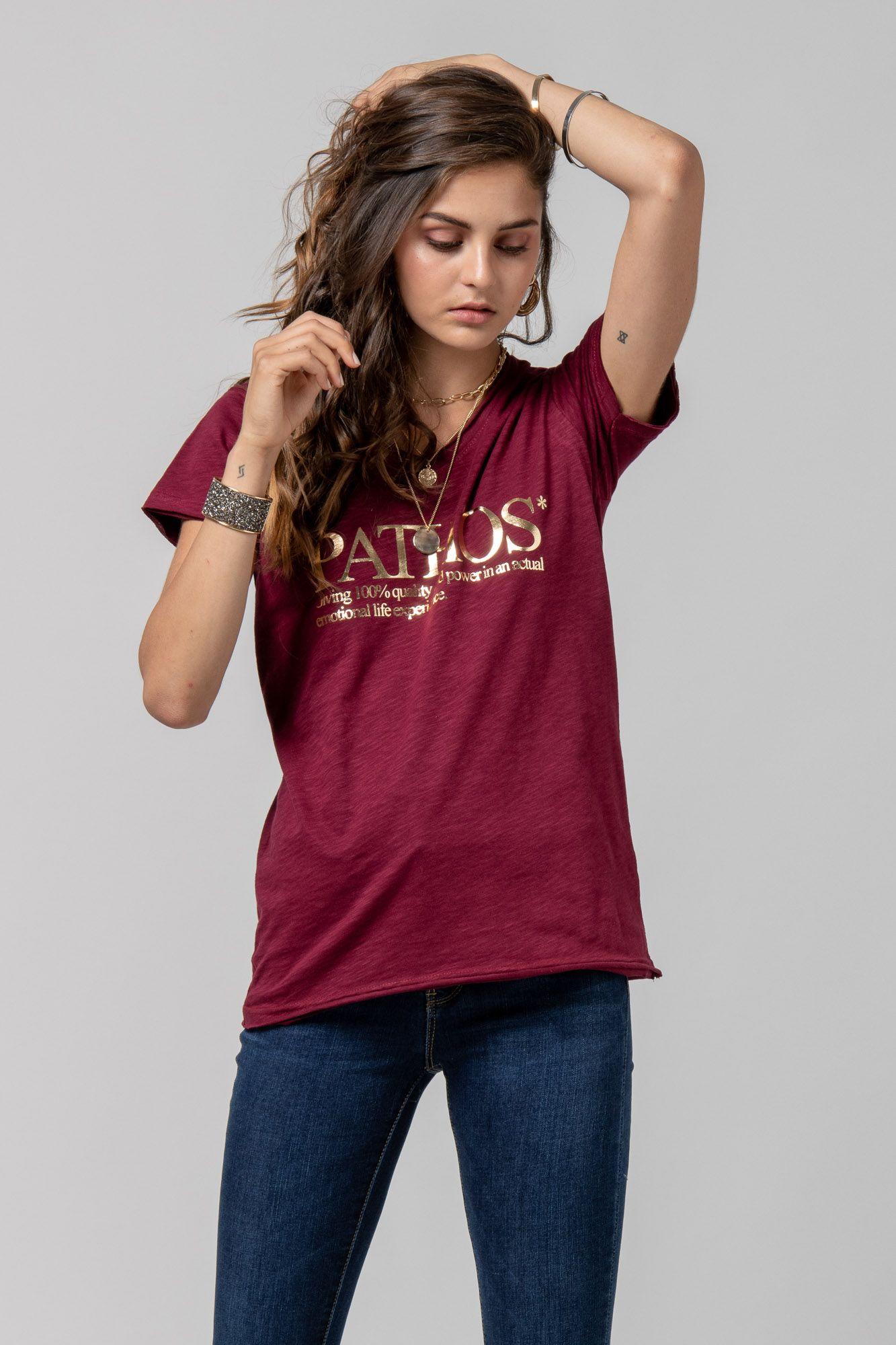 "T-shirt ""PATHOS"" μπορντό 1002410-1"