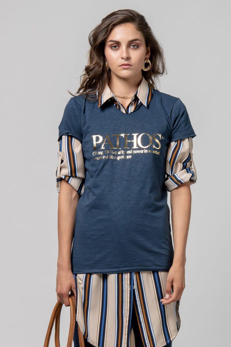 "T-shirt ""PATHOS"" μπλέ 1002410-3"