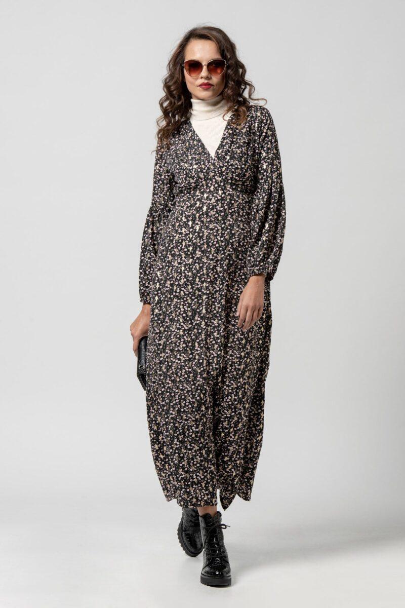 Φόρεμα μαύρο με χρυσές λεπτομέρειες 1102414-1