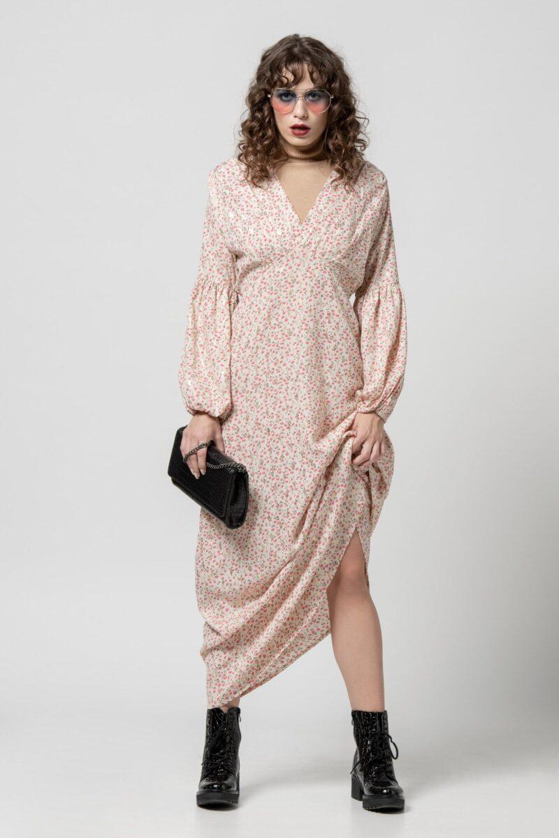 Φόρεμα λευκό με ροζ λεπτομέρειες 1102414