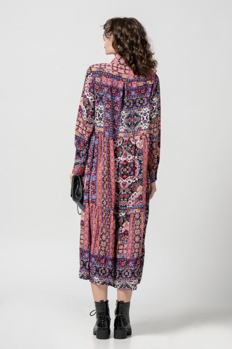 Φόρεμα boho ethnic μωβ 1102406