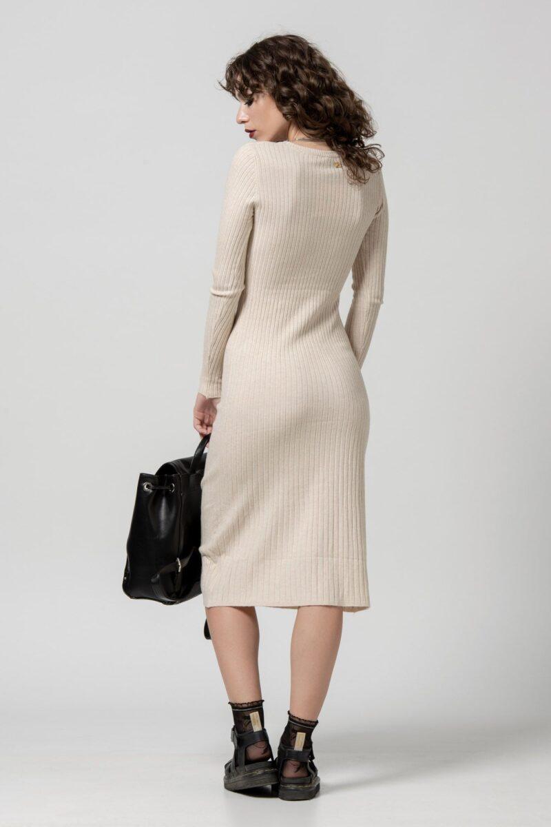 Φόρεμα πλεκτό μπεζ 1102408