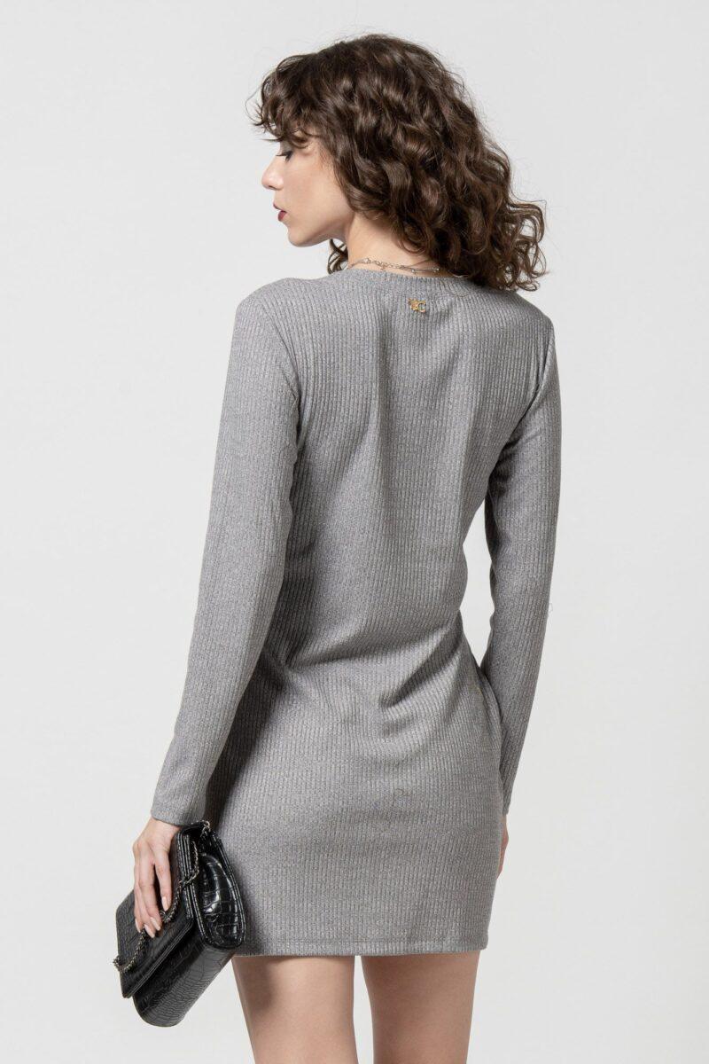 Φόρεμα πλεκτό με ζώνη γκρι 1102404
