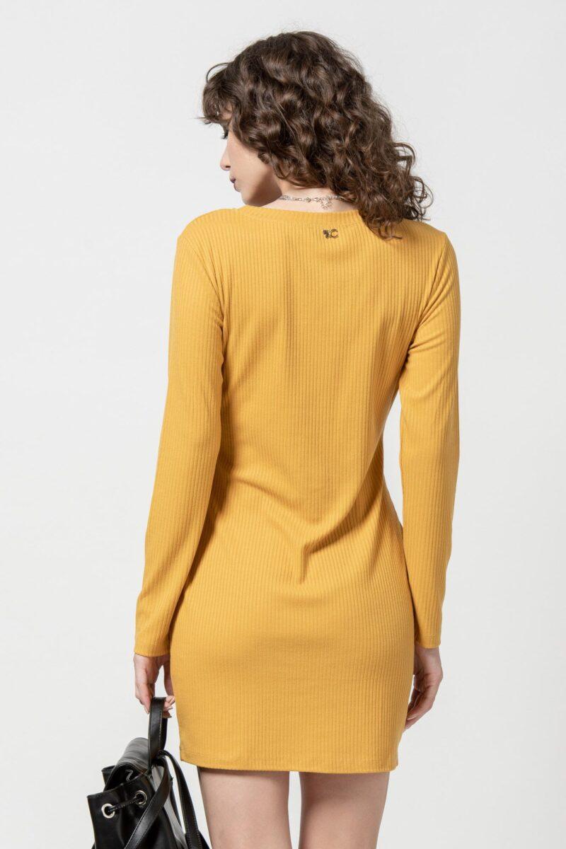 Φόρεμα πλεκτό κίτρινο με ζώνη 1102404-1