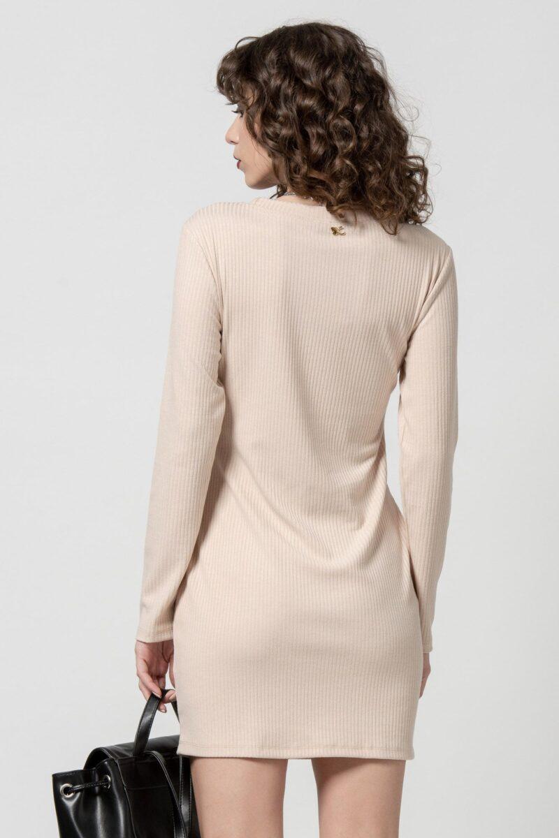Φόρεμα πλεκτό με ζώνη μπεζ 1102404-2