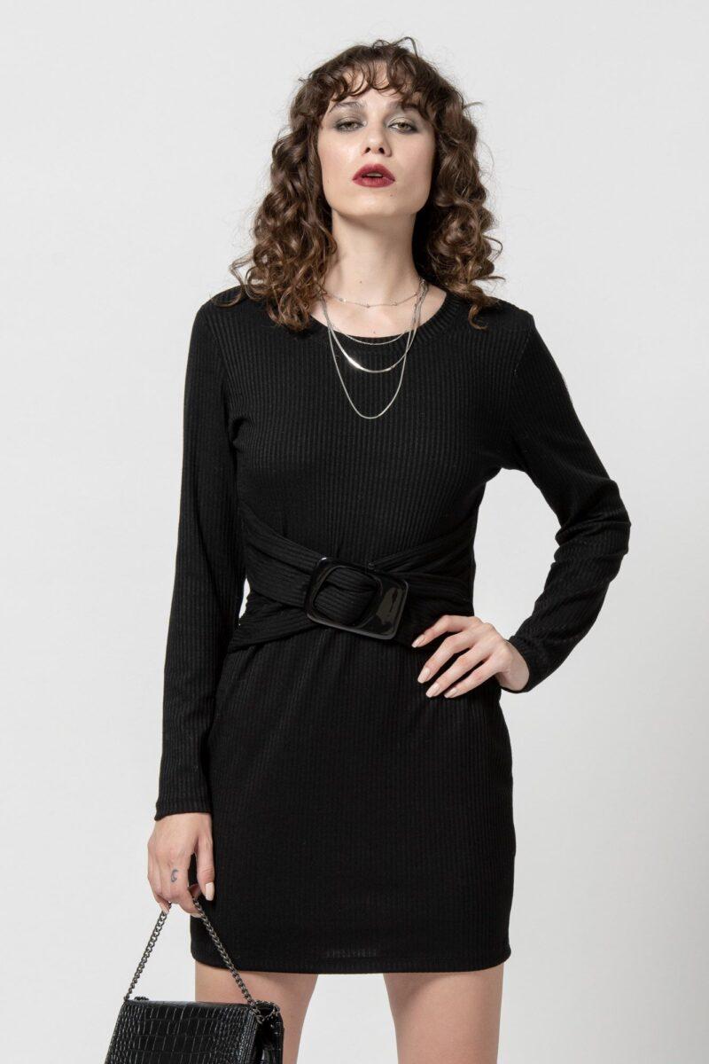 Φόρεμα πλεκτό μαύρο με ζώνη 1102404-3