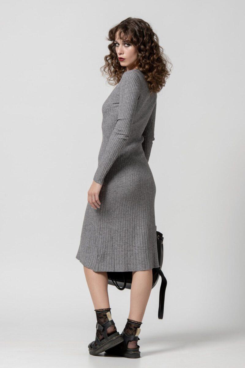 Φόρεμα πλεκτό γκρι 1102408-1