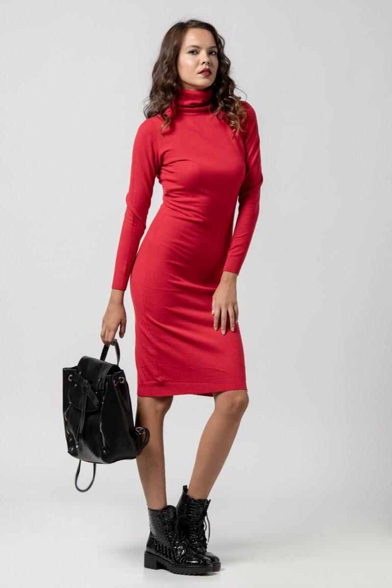 Φόρεμα πλεκτό ζιβάγκο κόκκινο 1102409