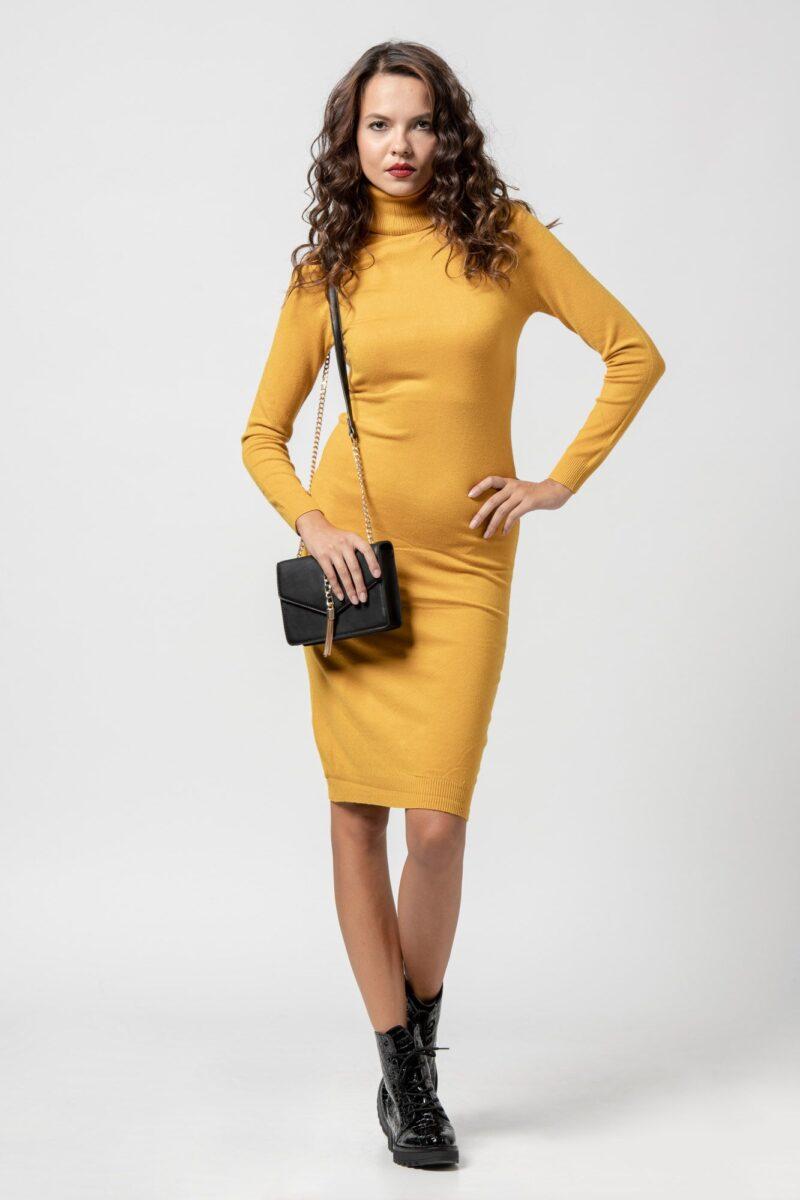Φόρεμα πλεκτό ζιβάγκο κίτρινο 1102409-1