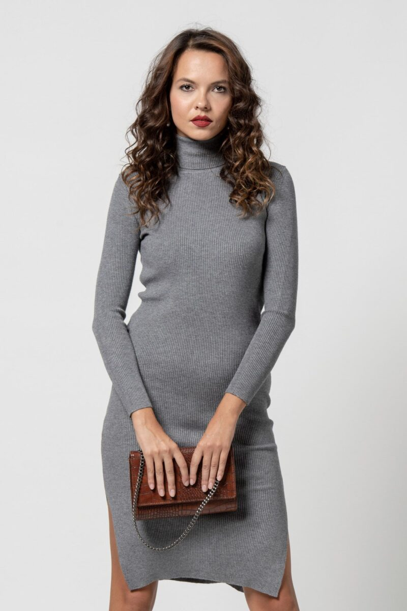 Φόρεμα πλεκτό ζιβάγκο γκρι 1102409-2