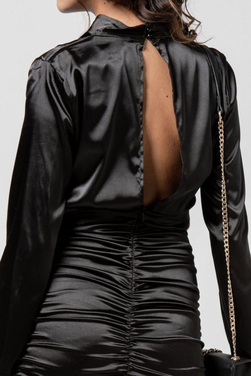 Φόρεμα σατέν μαύρο με σούρες 1102412-1
