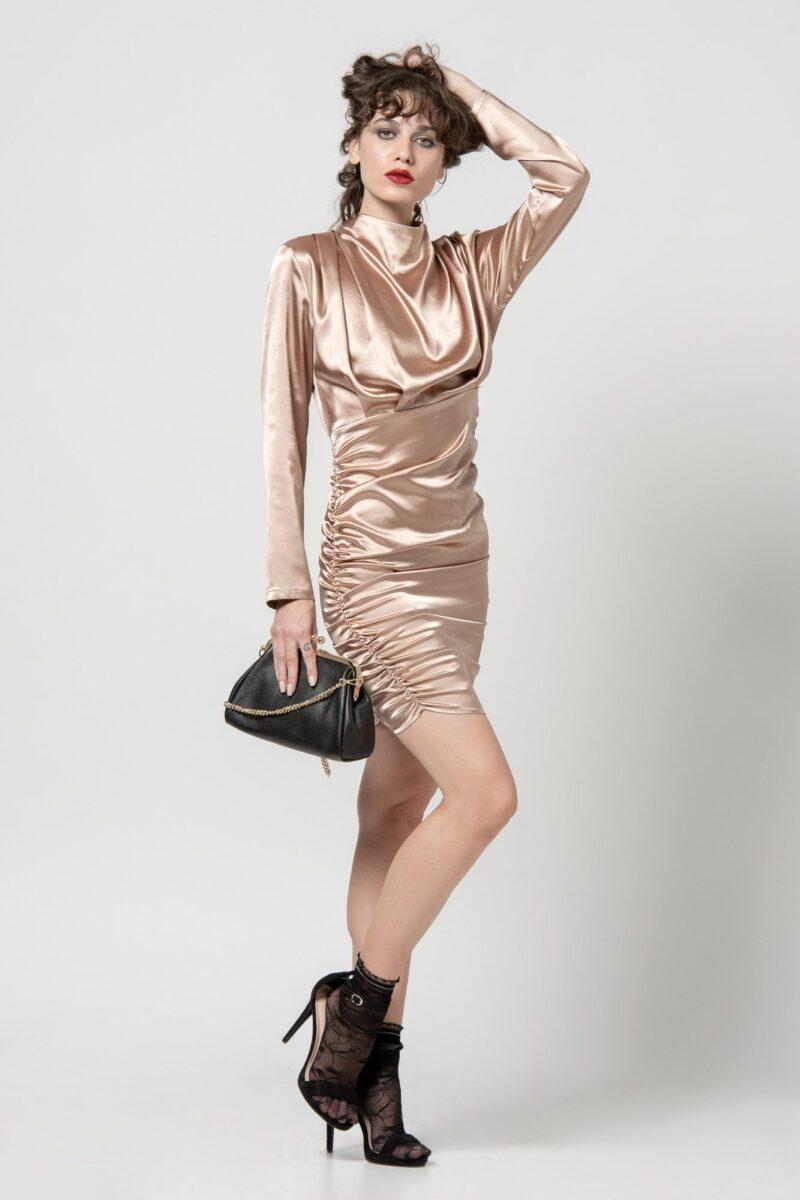 Φόρεμα σατέν χρυσό με σούρες 1102412