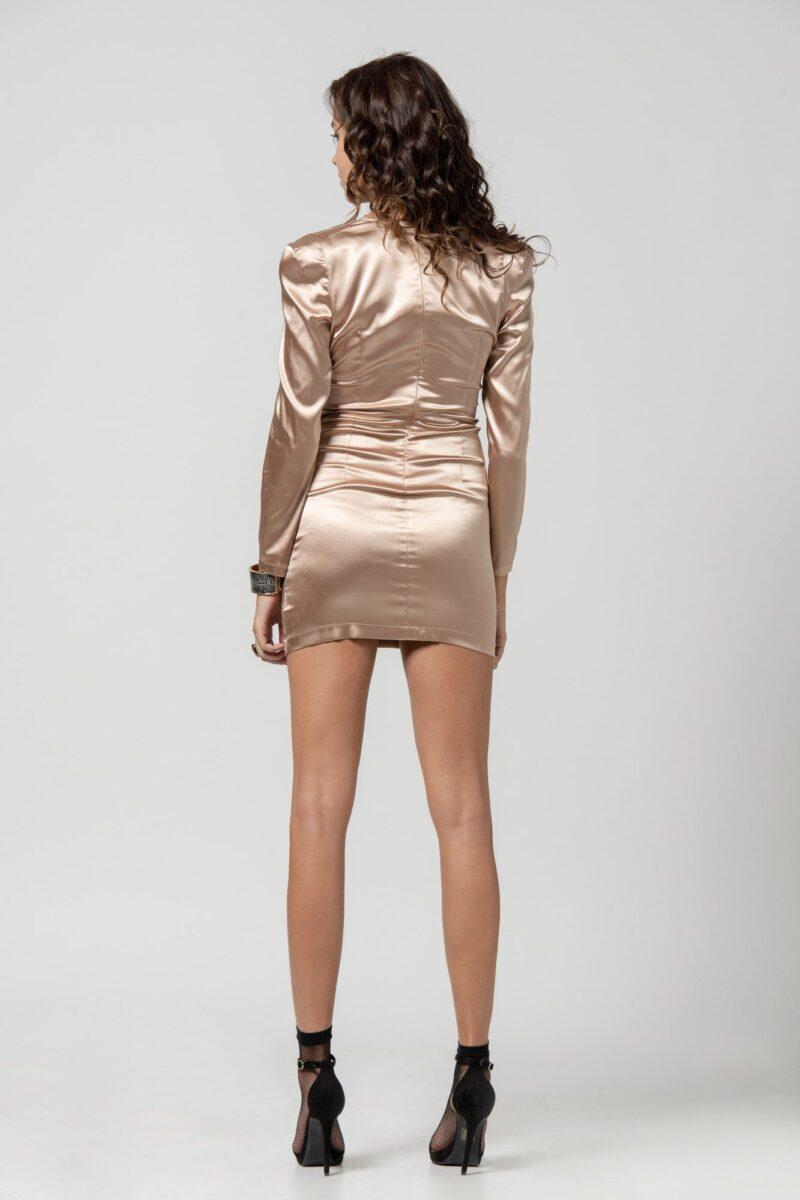 Φόρεμα σατέν χρυσό με V 1102413-1