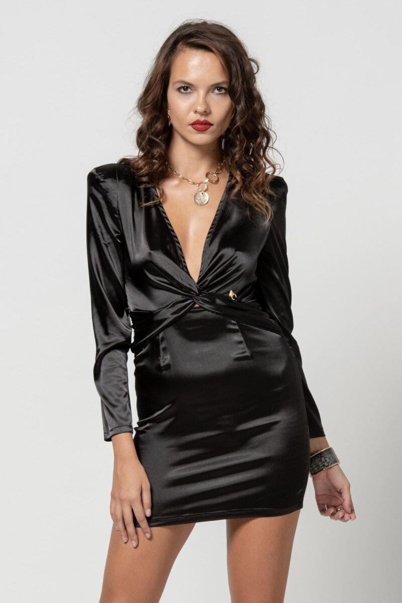 Φόρεμα σατέν με V μαύρο 1102413