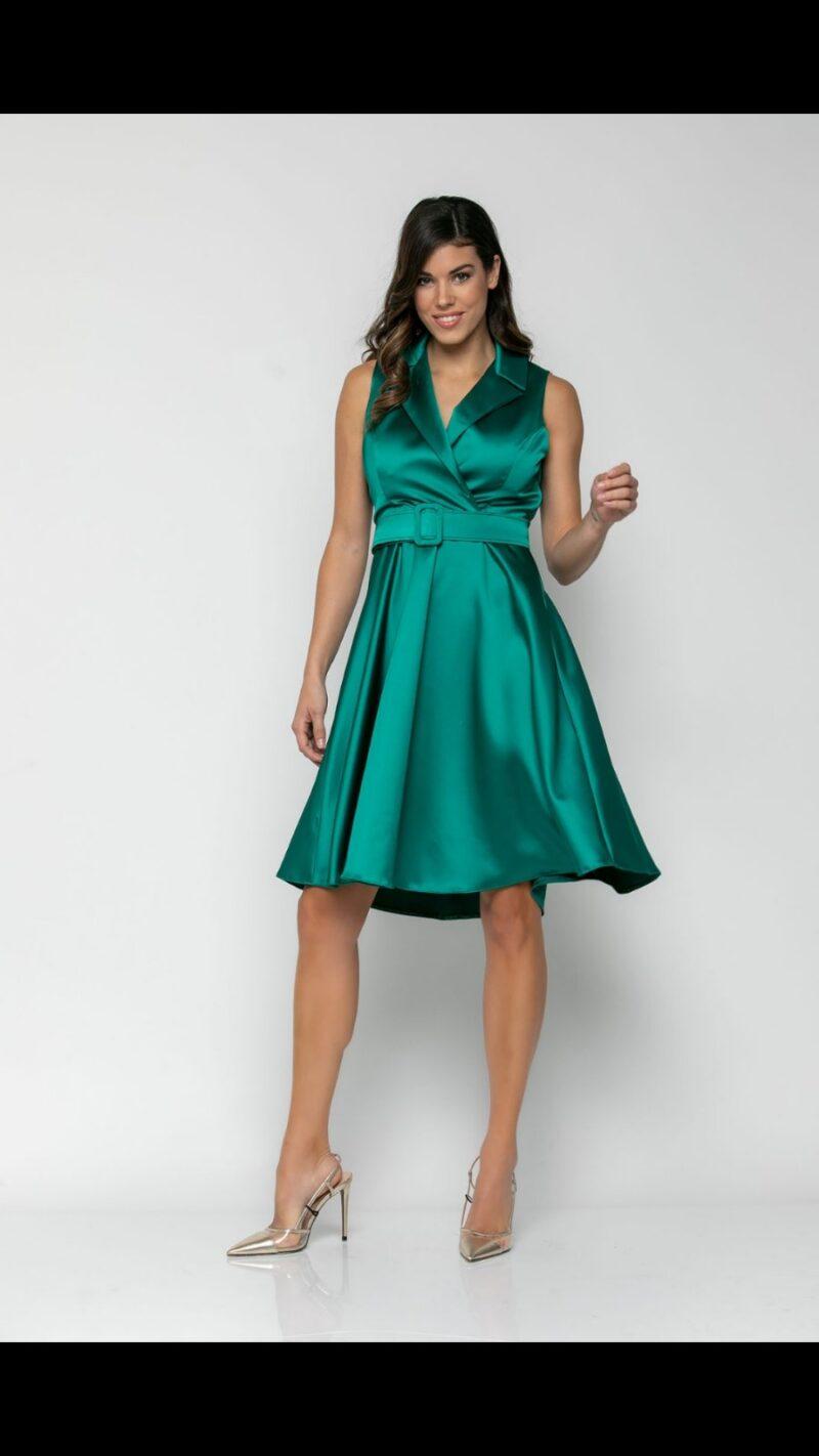Φόρεμα midi με γιακά βεραμάν 21112211-1