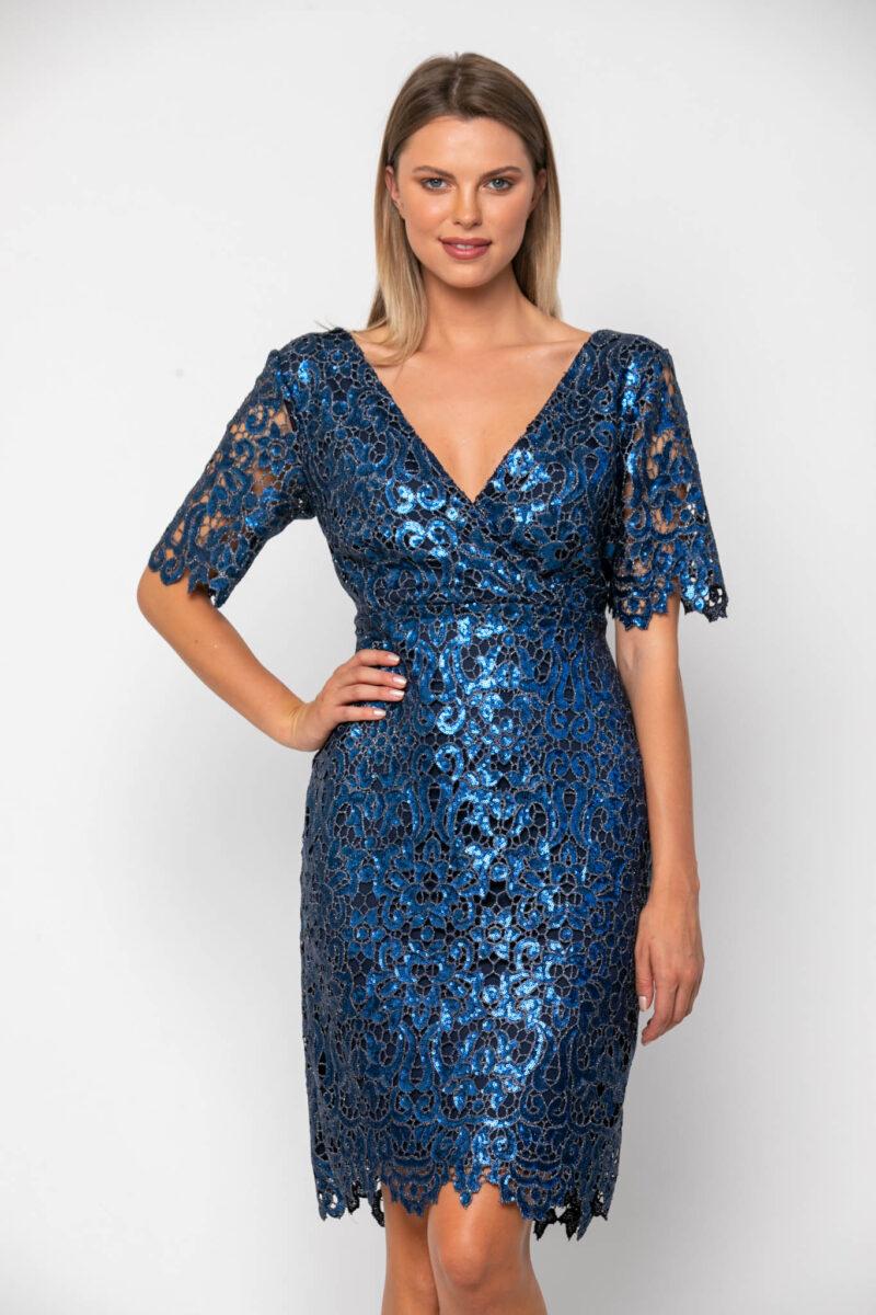 Φόρεμα κρουαζέ με παγέτα 21112383