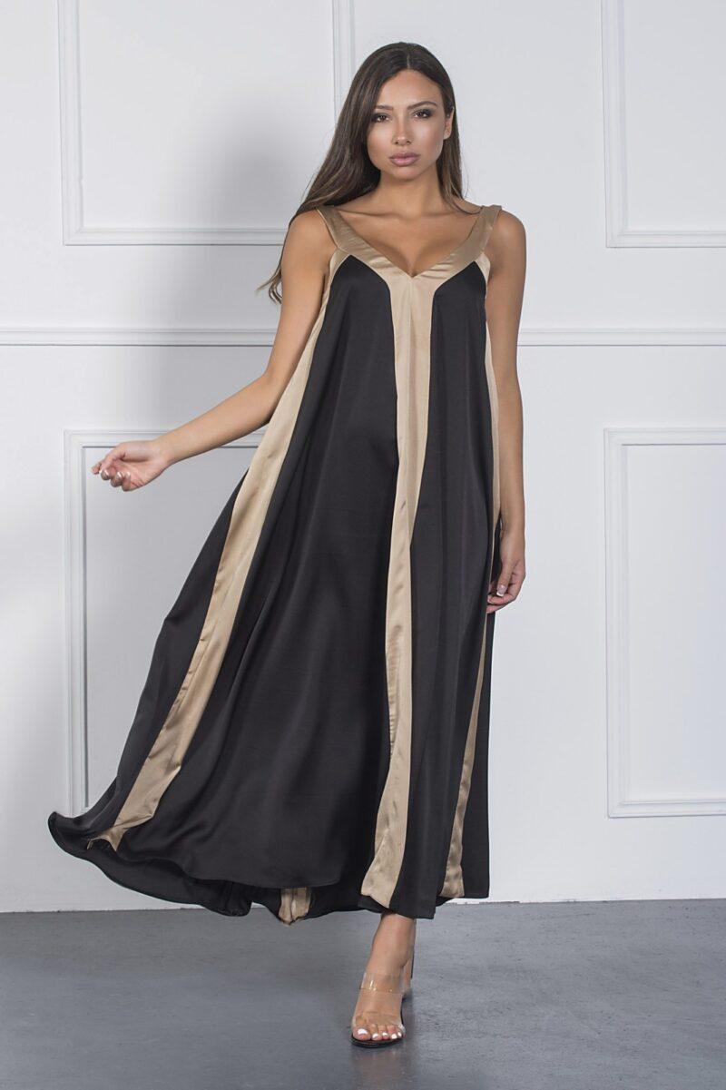 Φόρεμα midi με V μαύρο με χρυσό 1002126059