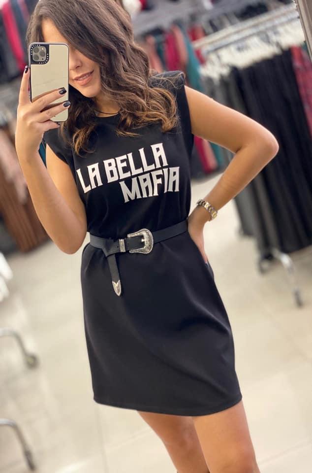"""Φόρεμα """"la bella mafia"""" με βάτες μαύρο 50388170"""