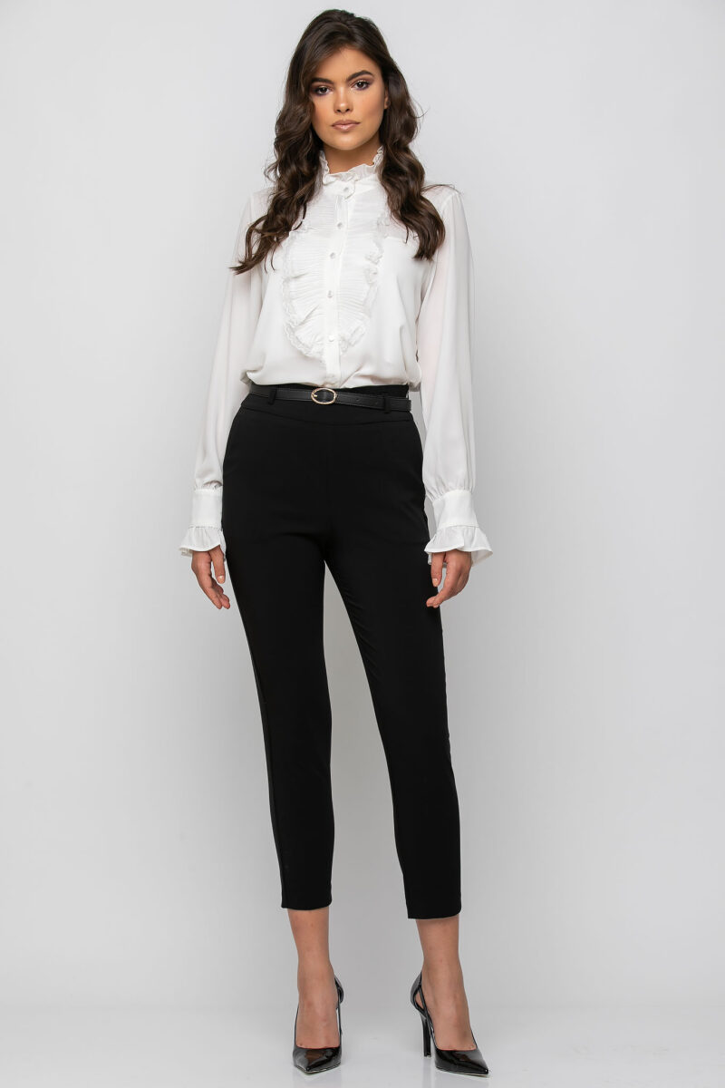 Παντελόνι cigarette με τσέπες εμπρός και extra ζώνη μαύρο 21081525