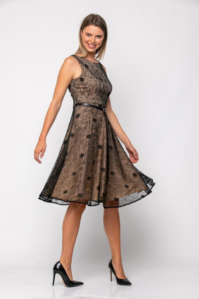 Φόρεμα cocktail midi σε δαντέλα με ανοιχτή πλάτη 21112373