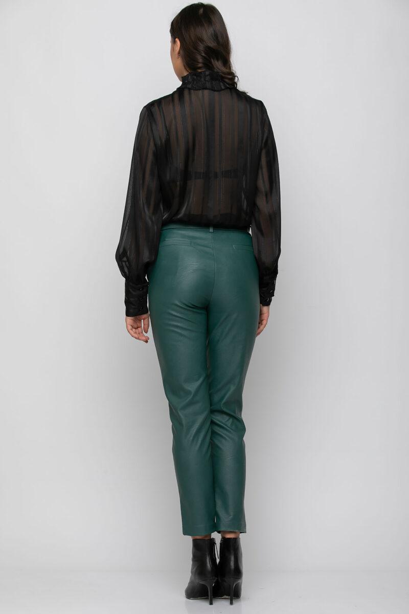 Παντελόνι τσίνο σε δερματίνη με extra ζώνη πράσσινο 21081521-2