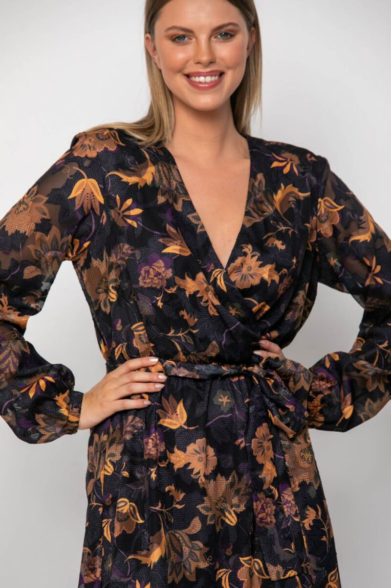 Φόρεμα εμπριμέ μώβ 21112361