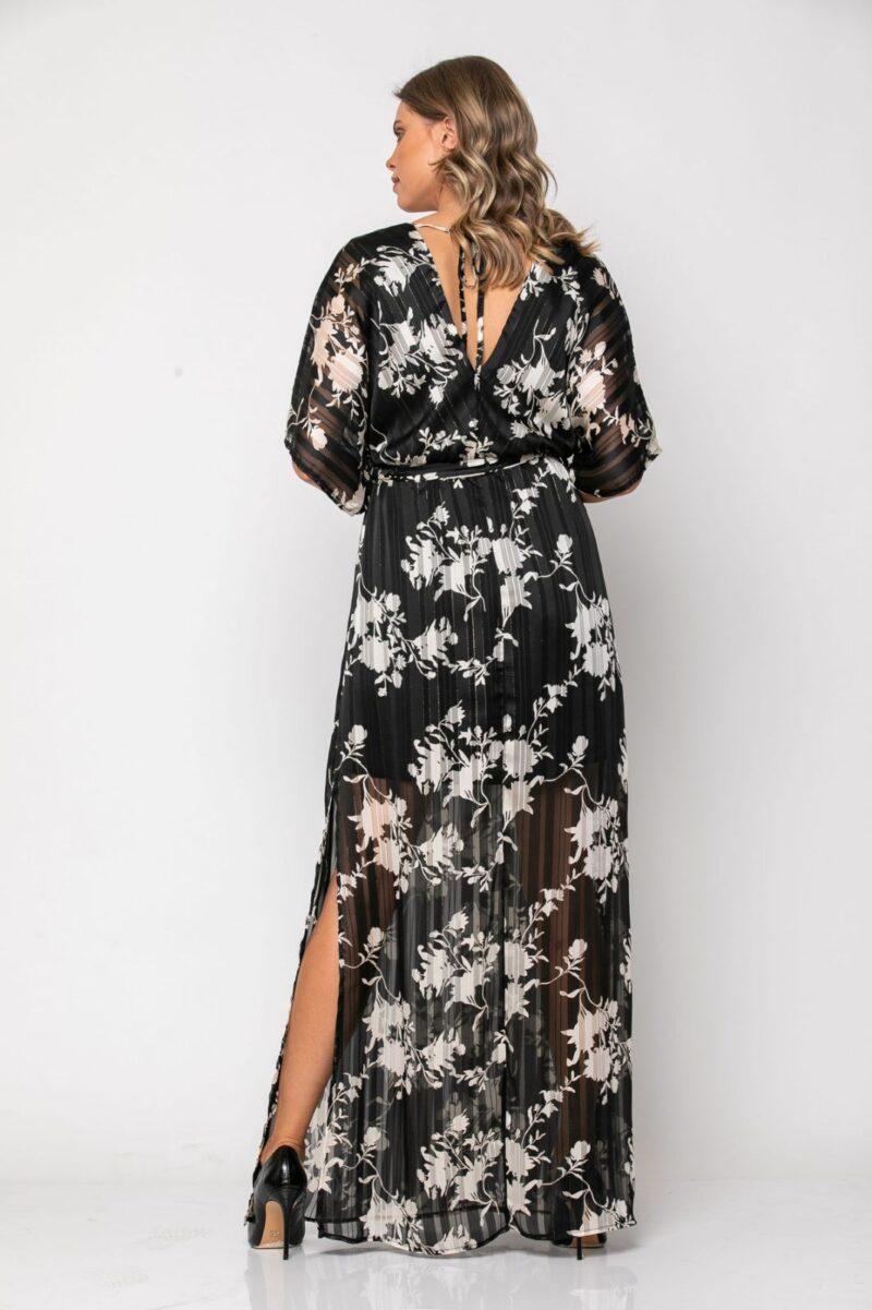 Φόρεμα εμπριμέ μαύρο/λευκό 21112366