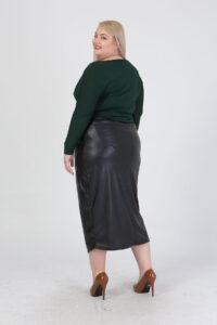 Φούστα δερμάτινη με φερμουάρ μαύρη 216817042-1