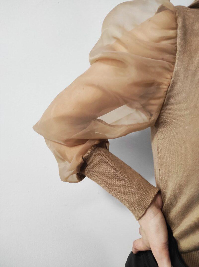 Μπλούζα πλεκτή με φουσκωτά μανίκια καφέ 3528